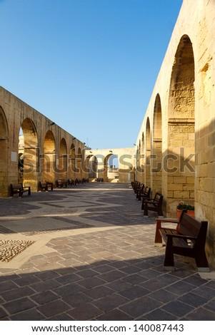 Arches Upper Barrakka Gardens in Valletta, Malta. - stock photo
