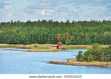 Archipelago Sea is part of Baltic Sea between Gulf of Bothnia, Gulf of Finland and Sea of Aland, within Finnish territorial waters. It contains largest archipelago in world by number of islands - stock photo