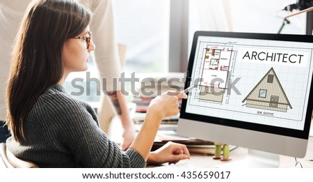 Architect Architecture Design Infrastructure Construction Concept - stock photo
