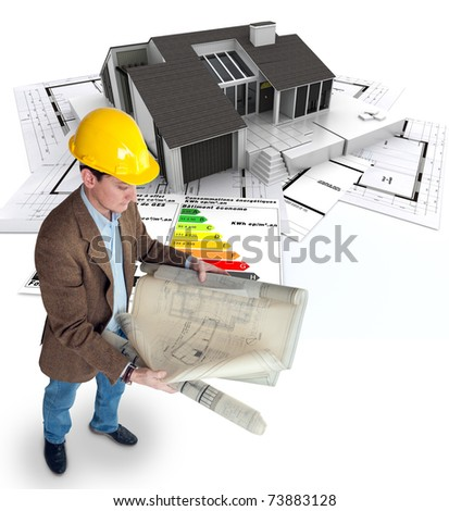Architect , blueprints a house and an energy efficiency chart - stock photo