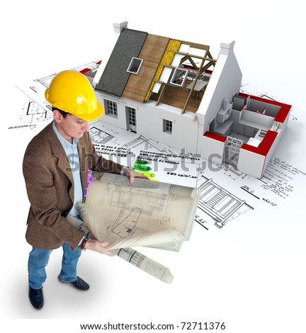 Architect , blueprints a house under construction and an energy efficiency chart - stock photo
