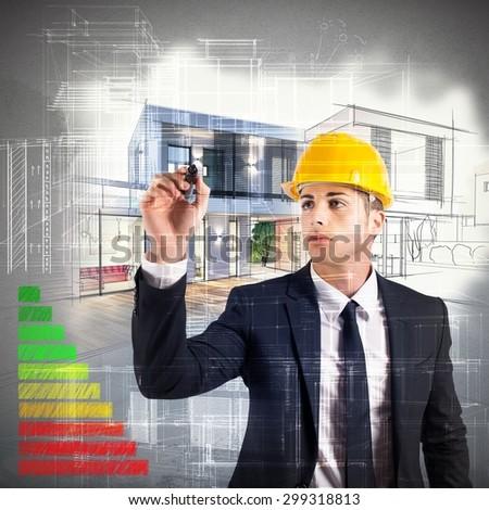Architect designs a house and energy certification - stock photo