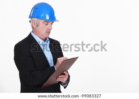 Architect drafting report - stock photo