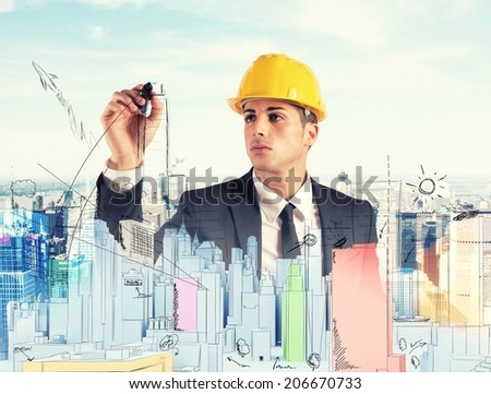Architect drawing a sketchof modern building project - stock photo