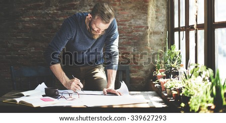 Architect Engineer Design Working Planning Concept - stock photo