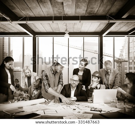 Architect Engineer Meeting People Brainstorming Concept - stock photo