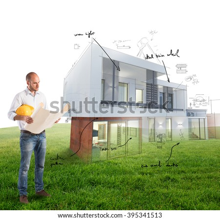Architect house project - stock photo