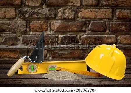 Architect, isolated, brick. - stock photo