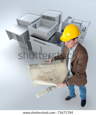 Architect looking at his plans with a building mockup - stock photo