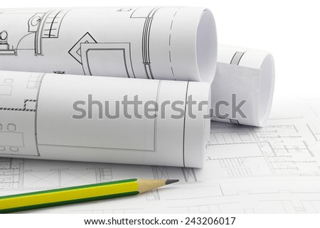 Architect rolls and plans, construction plan drawing and pencil work tool - stock photo