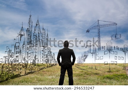 Architect sketching a construction project. - stock photo