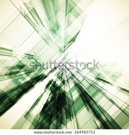 Architect tunnel. Architecture design and 3d model my own - stock photo