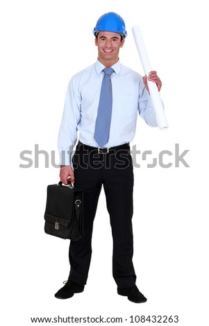 Architect with a briefcase - stock photo