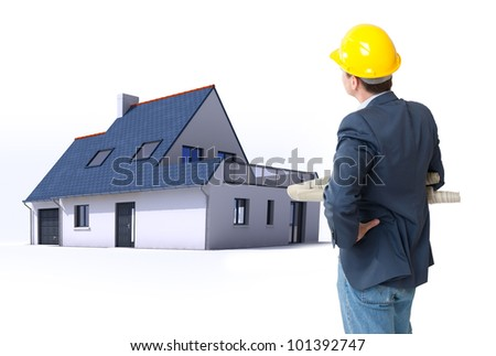 Architect with blueprints and a residential architecture model - stock photo