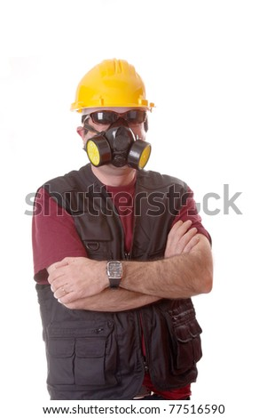 architect with gas mask, polution chemical concept - stock photo