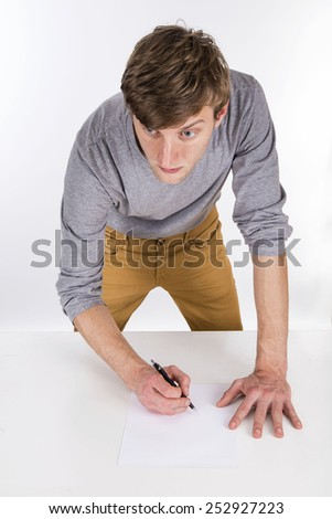 architect working on the white background - stock photo