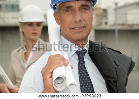 Architects on site - stock photo
