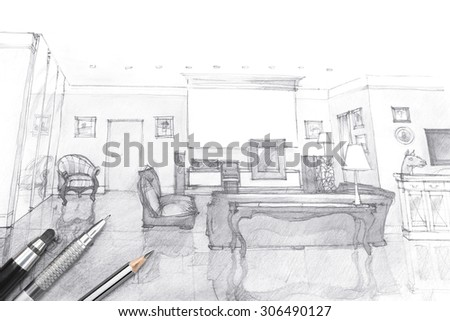 architects workspace picture with living room sketch and painting tools - stock photo