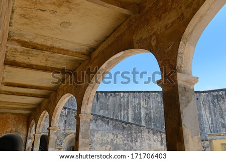 Architectural arches at San Cristobal fort in San Juan Puerto Rico - stock photo