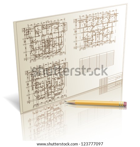 Architectural background. Part of architectural project, architectural plan, technical project, drawing technical letters, architecture planning on paper, construction plan - Raster version. - stock photo