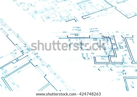 architectural background with technical drawings and construction plans - stock photo
