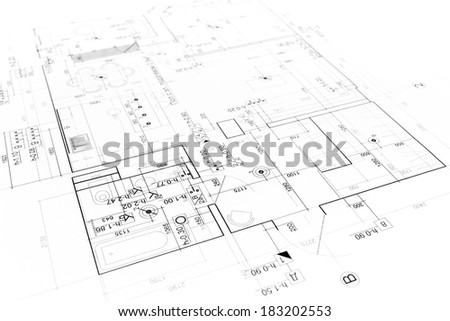 Architectural background with technical drawings. Blueprints series. - stock photo