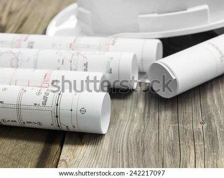 Architectural blueprint of office building  - stock photo