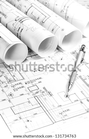 Architectural blueprints of new homes - stock photo