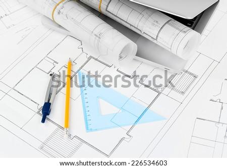 Architectural blueprints rolls - stock photo