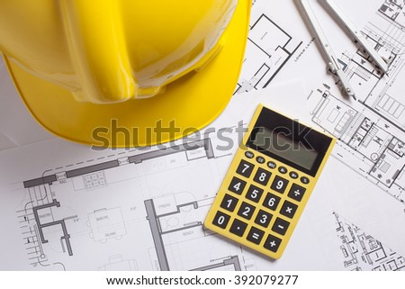 Architectural blueprints  with various instruments  - stock photo