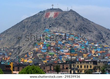 Architectural Chaos in poverty zones, Lima, Peru - stock photo
