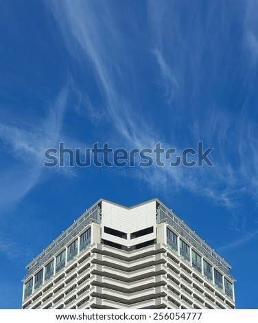 Architectural collage with nice blue sky background, conceptual photo of architectural detail, architecture fragment, collage, artistic version, conceptual photo, abstract exterior with space for text - stock photo