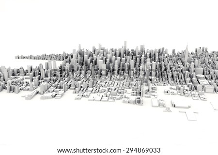 Architectural 3D model illustration of a large city on a white background. - stock photo
