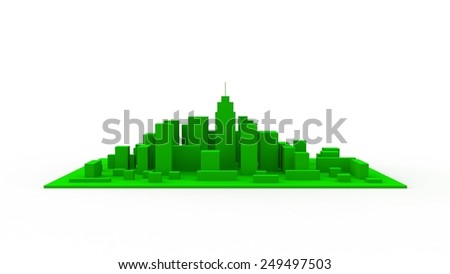 Architectural 3D model miniature downtown perspective - stock photo