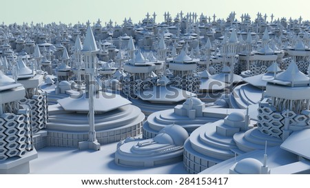 Architectural 3D model miniature downtown perspective in blue background - stock photo