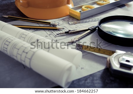 Architectural design and project blueprints drawings-Filtered Image - stock photo