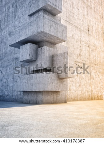 Architectural design of abstract concrete building with elements of cubes. 3D illustration. - stock photo