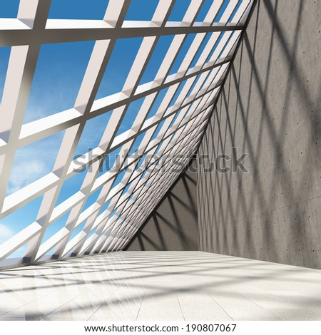 Architectural design of modern concrete hall with panoramic window - stock photo