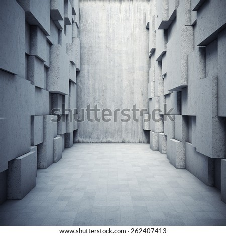 Architectural design of the hall with elements of the cubes - stock photo