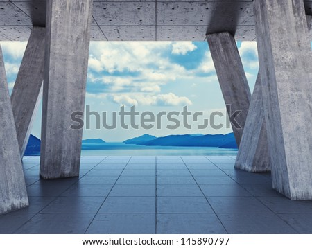 Architectural design of the terrace with views of the sea - stock photo