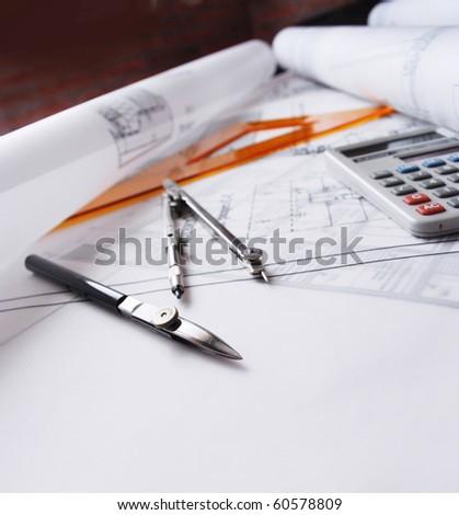 Architectural desk - stock photo