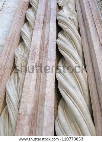 Architectural detail, Battistero di San Giovanni, Siena, Italy - stock photo