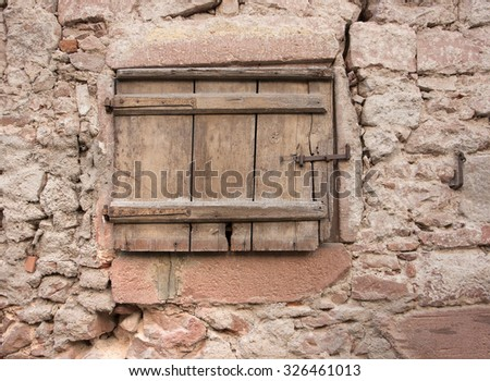 architectural detail in Riquewihr, a town in Alsace, France - stock photo
