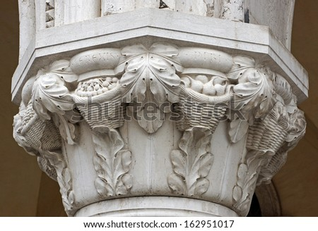 Architectural detail of a carved marble column - stock photo