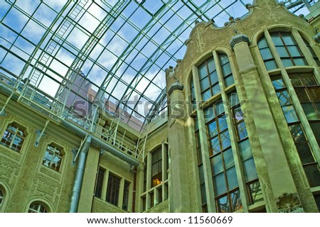 Architectural detail of a modern university building - stock photo
