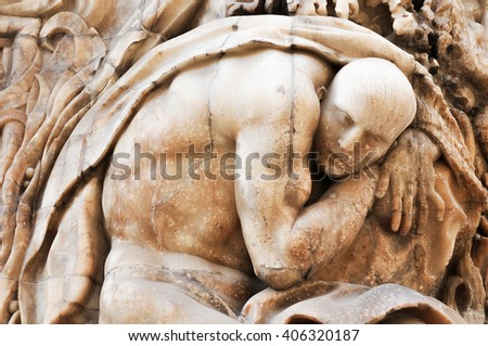 Architectural detail of alabaster sculpture on the front gate of Palacio del Marques de Dos Aguas in Valencia, Spain - stock photo