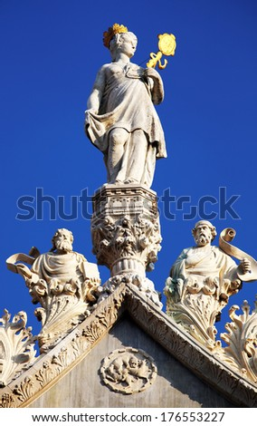 Architectural detail of Basilica San Marco, Venice, Italy - sunset light - stock photo