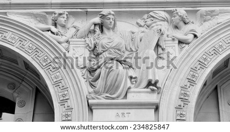 Architectural detail of basrelief depicting the muse of arts - stock photo