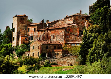 Architectural detail of Montalcino Fortress, Tuscany, Italy, Europe - stock photo