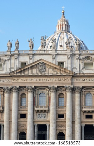 Architectural detail of St. Peter's Basilica, St. Peter's Square, Vatican City - stock photo